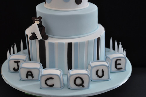 Blue Christening cake with baby name blocks