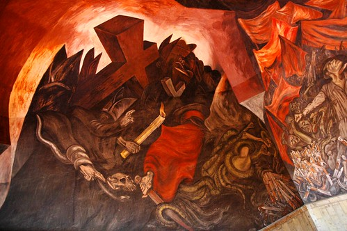 Popes blessings, ideologues, candle, red cross, snakes, corpses, knives, José Clemente Orozco Mural, Governor's Palace, (Palacio de Gobierno built in 1774), Guadalajara, Jalisco, Mexico