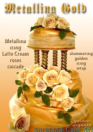 METALLINA ROSE GOLD AND IVORY ROSES WEDDING CAKE