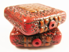 Cayenne Red Square Textured Focal Beads