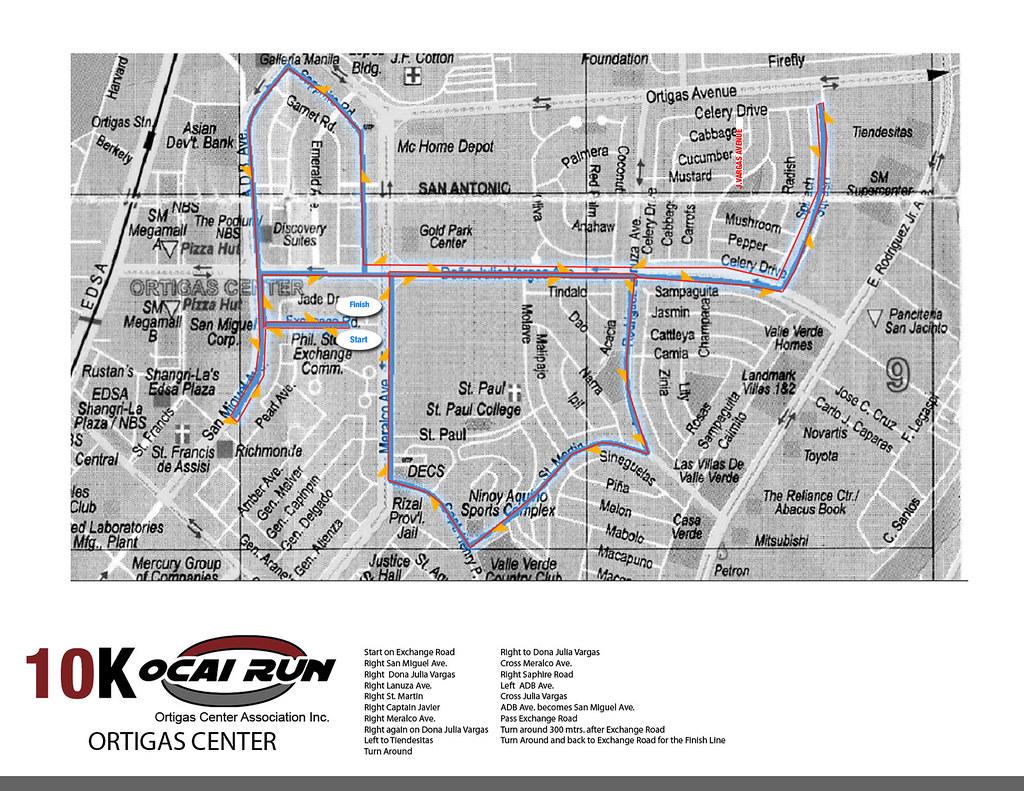 OCAI Run 2010 10K Race Map