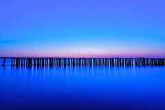 The Inlines (Dr. RawheaD) Tags: ocean longexposure blue sunrise dawn pentax minimal f4 hoya deerisland k7 fortindependence nd8 da1224mm