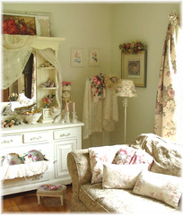 Romantic Cottage Living Room (Bluebird Becca) Tags: pink living lace room cottage cream romantic chic decor shabby ecru
