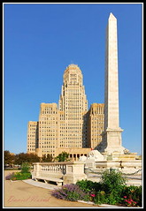 Buffalo City Hall & McKinley Monument (DSF_4956-58) (masinka) Tags: new york city morning flowers blue summer sky ny building monument architecture floors 1931 hall spring buffalo downtown angle wide places upstate historic national western government artdeco tall register mckinley stories legislature municipal foreground 1929 tallest niagarasquare