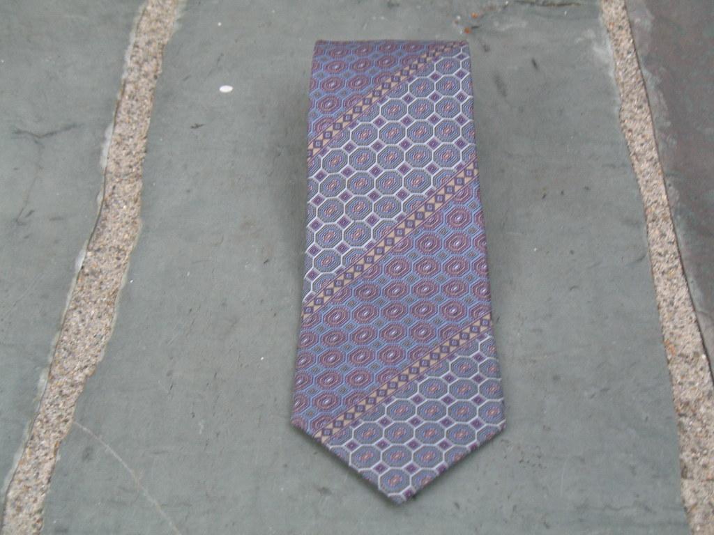 Understated DESIGNER Silk Necktie Vintage Blue Lavender Gray Givenchy