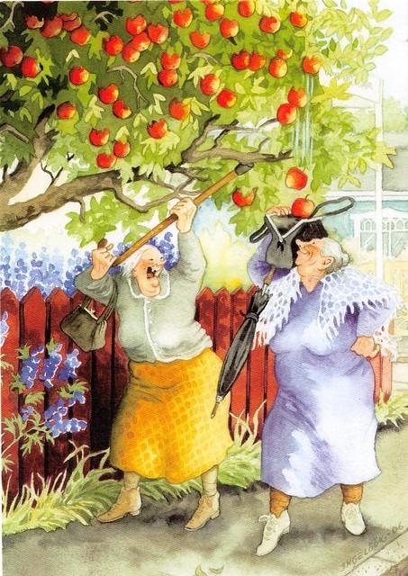 inge look apples onto handbag