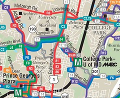 bus routes in College Park, MD (via Rethink College Park)