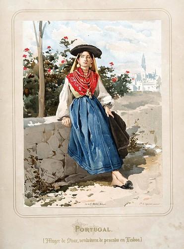 017-Portugal-Mujer de Obar vendedora de pescado en Lisboa-Las Mujeres Españolas Portuguesas y Americanas 1876-Miguel Guijarro