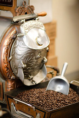 Daily Grind (Photos By Bill in WV) Tags: coffee beans steel machinery silver brass scoop food drink drinks business caffeine old roast roaster canon 35mm commercial