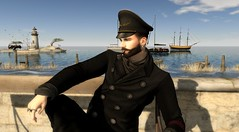 Oh, Captain! My Captain! (SeradinSL) Tags: maison de lamitie deadwool captain sea pea coat sailor hat ship ships boat boats ocean beach water open pipe deco mandala catwa lighthouse