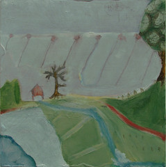 stormy day (whisper) (Beersama) Tags: trees house color history texture field fog painting landscape happy escape flat path mixedmedia small warped dreaming oil expressionism layers depth graphite oneric warmplace