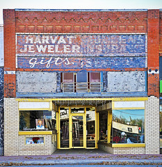 HARVAT JEWELER-MULLENS INSURANCE (FotoEdge) Tags: signs southwest oklahoma sunshine shop route66 mainstreet painted 66 business duplex bristow insurance snazzy ghostsign jeweler multiuse fotoedge harvat