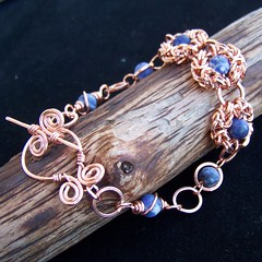 Copper and Sodalite wirewrap and chainmaille bracelet