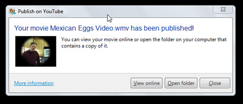 Video published to YouTube from Windows Live Movie Maker