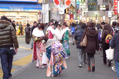 Kimono girls taking photos of each other in Shibuya