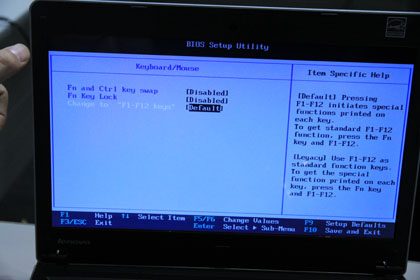 ThinkPad Edge 13 キーボードのBIOS設定