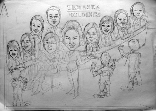 Group caricatures for Morgan Stanley (Temasek Holdings) pencil; sketch
