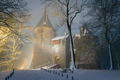 Castle Coch, Winter Mist, Wales (welshio) Tags: lighting uk nightphotography trees winter light mist snow cold castles fog southwales wales fairytale night dark landscape europe sinister stonework gothic towers 19thcentury cardiff victorian atmosphere eerie drawbridge welsh tungsten monuments picturesque portcullis folly faerie forts sincity pictorial mixedlighting buttress rampart gothicrevival romanticism castellcoch castlecoch artificiallighting redcastle senseofplace marquessofbute williamburges romanticlandscape colourtemperature britishlandscapes welshlandscapes arrowholes gettyholidays2010 welshlandmarks