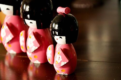 Pink Kokeshi Dolls