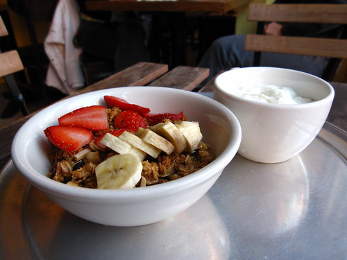fruit, granola, and yogurt