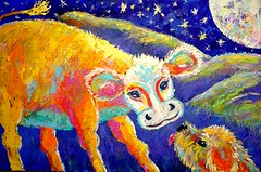 The Moo Belongs To Everyone (mstarmi) Tags: dog moon art love painting cow scenery acrylic friendship romance moonlight nightlife whimsicalart strarlight