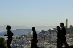foreground/background (Swiv) Tags: sanfrancisco california shadows background hills coittower backdrop figures