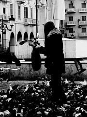 (Ezkerras) Tags: food woman white black statue square pigeon greece thessaloniki venizelos