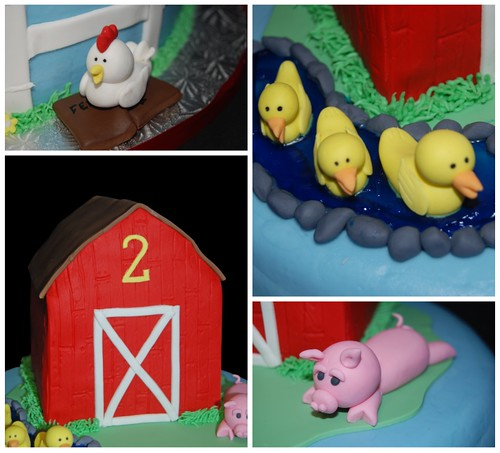 Barn yard animals 2nd birthday cake collage