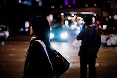 69/365: she & him (futo) Tags: sanfrancisco california guy cars girl night movie 50mm lights downtown bokeh candid soma cinematic lovestory project365 nikkor50mmf14ais nikond300