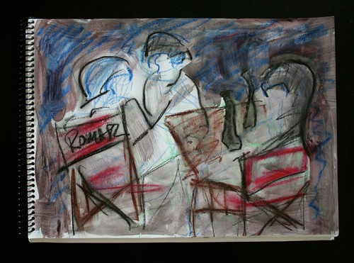 """Cafe in Recolete"" - Mixed Media on Paper - 11""x14"""