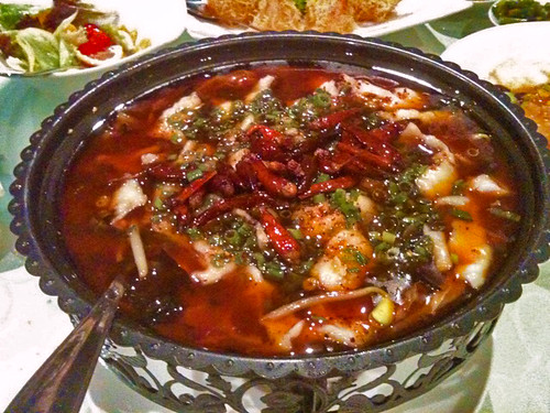 Sichuan chili oil and dried chili with sliced fish
