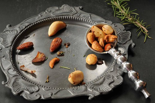 Roasted Nuts with Rosemary and Shallots - nuts on pewter plate
