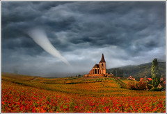 Prayer's time (Jean-Michel Priaux) Tags: red cloud storm france art church weather illustration clouds photoshop painting season landscape village wind prayer dream peinture dreaming alsace tempest paysage tornado glise hdr anotherworld mto terrific peur forceofnature mattepainting tornade ouragan priaux mywinners artofimages bestcapturesaoi