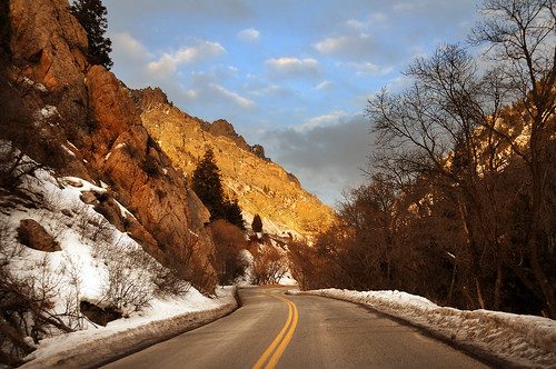 american fork road sunset light canyon