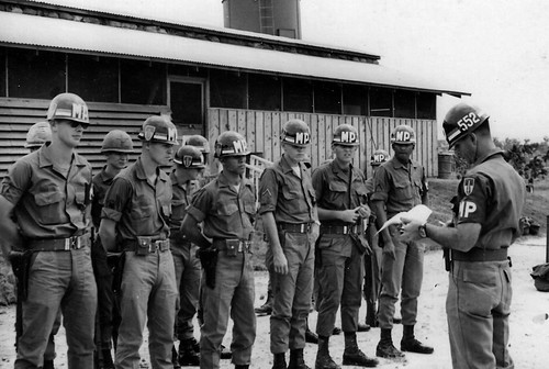 Guardmount 552nd MP CO, Long Binh, me second from right, front line by jim416