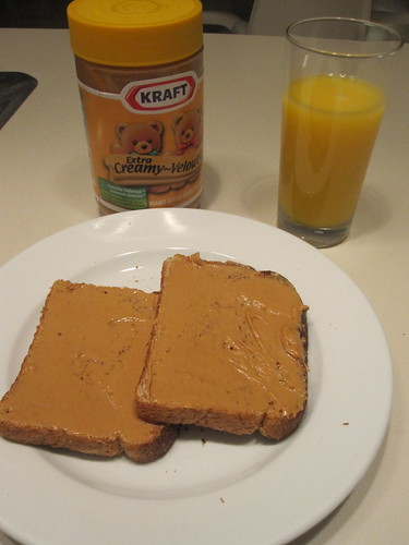 Peanut butter toast and orange juice