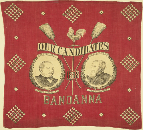 "Cleveland-Thurman ""Our Candidates 1888"" Portrait Handkerchief"