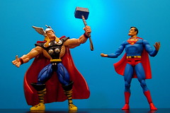 Thor vs. Superman (49/365) (JD Hancock) Tags: blue favorite comics fun toy actionfigure interesting action superman cc figure superhero comicbooks duel 365 dccomics char thor marvelcomics day49 theotherside nogeo inkitchen jdhancock duel365