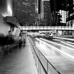 Blur | Trail (Bright Lights, Vegas Nights) Tags: bw blur canon square eos lasvegas casino citycenter aria lighttrail rebelxs canonefs1855mmf3556is 1000d