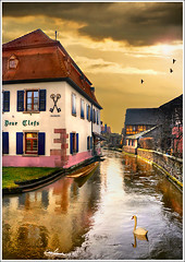 Two Keys (Jean-Michel Priaux) Tags: sky house france art window water architecture illustration photoshop river painting way landscape restaurant construction nikon key village flood path dream rivire peinture dreaming reflet ill ciel reflect alsace paysage clef barque anotherworld mattepainting swain ried d90 ebersmunster priaux digitalflood