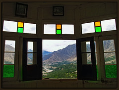 Come to The Present (IshtiaQ Ahmed (is Back)) Tags: pakistan mountains green window vintage river fort valley fields rakaposhi hunza karimabad baltit northernareaofpakistan ishtiaqahmed gilgitbaltistan peoplehunzakuts