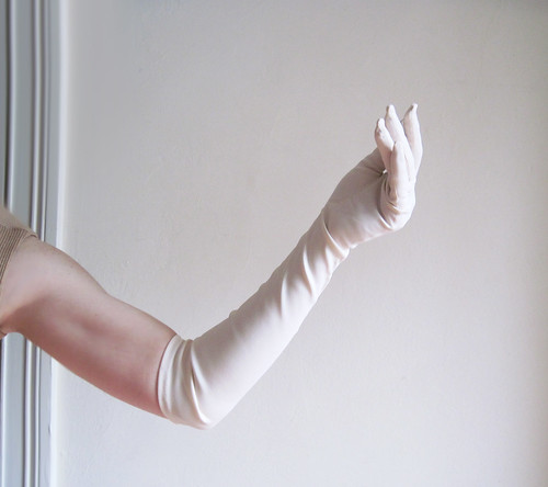vintage 1960s Super Long Stretch White Opera Gloves