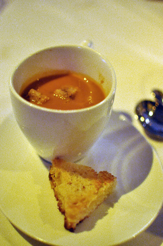 Tomato Fennel soup with Gruyere Grilled Cheese