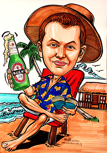 Caricature for ExxonMobil relax @ beach resort