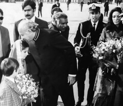 President Bhutto kissing a young child on arrival (Doc Kazi) Tags: pakistan history nusrat bhutto zulfikar