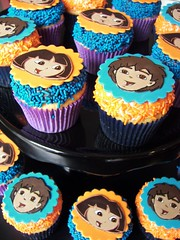Dora and Diego Cupcakes (death by cupcake) Tags: birthday party baking dora cupcake sprinkles deigo jimmies fondant buttercream nickjr deadcupcake deathbycupcake jennifermcfadden