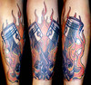 Mechanic Tattoo Flaming Pistons Roy S flaming