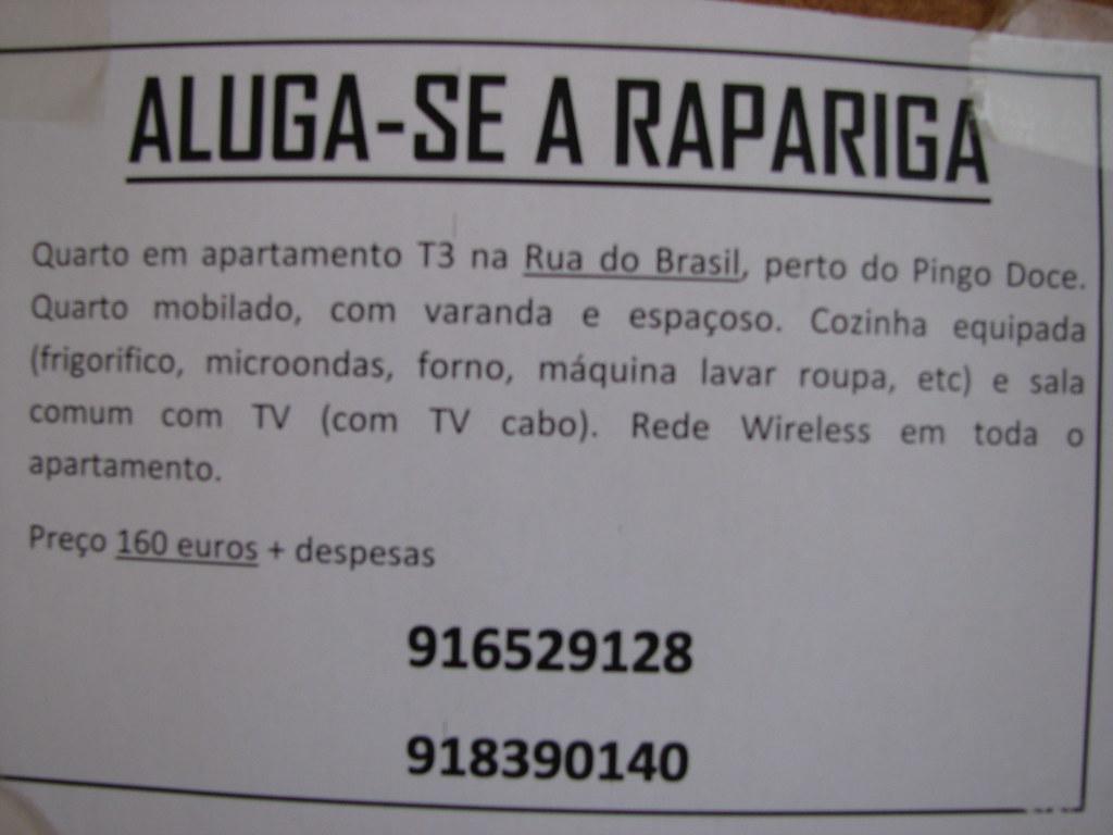 Alugando quarto a rapariga na Rua do Brasil