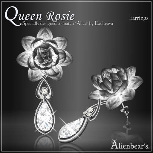 Dark Queen Rosie earrings white