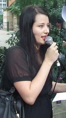 Jo Nilson of the band 'Butcher Birds' speaks at Queensland Locked Out Rally, Parliament House, George and Alice Sts Brisbane City, Queensland, Australia 100311